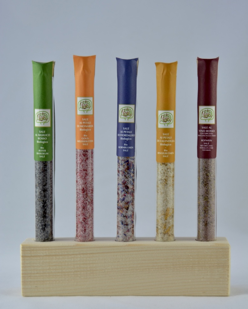 Holzsockel mit 5 verschiedene Salzmischungen  - 1
